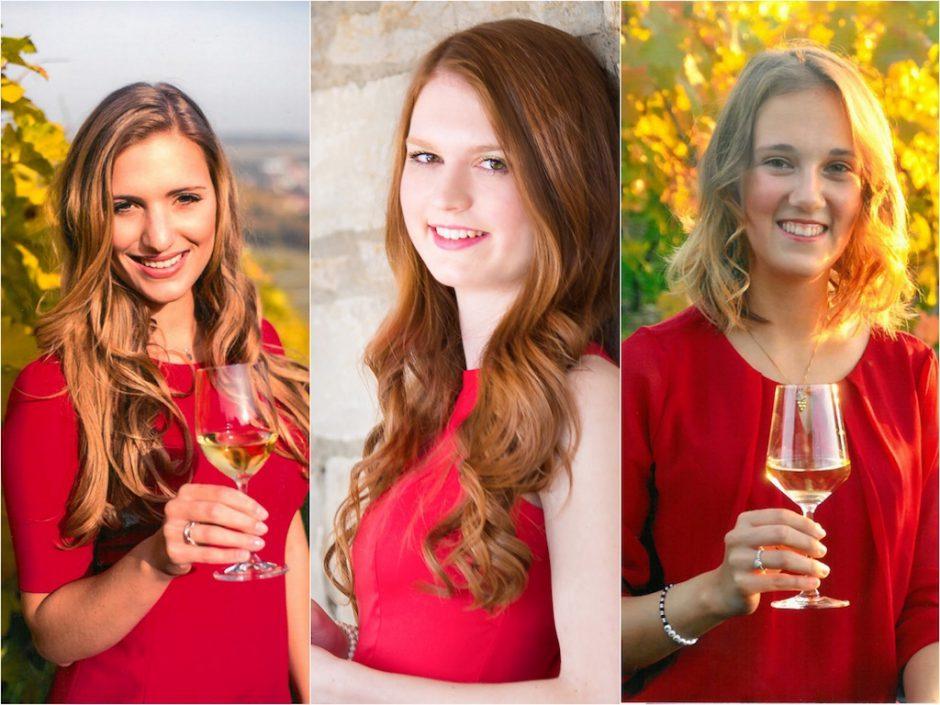 Die drei Bewerberinnen zur Wahl der 62. Fränkischen Weinkönigin. Foto: Fränkischer Weinbauverband