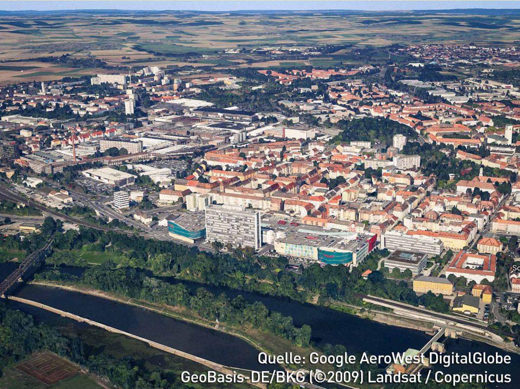 Danke Google Earth 9.0 kann man Schweinfurt nun komplett in 3D sehen. Foto: Google Earth
