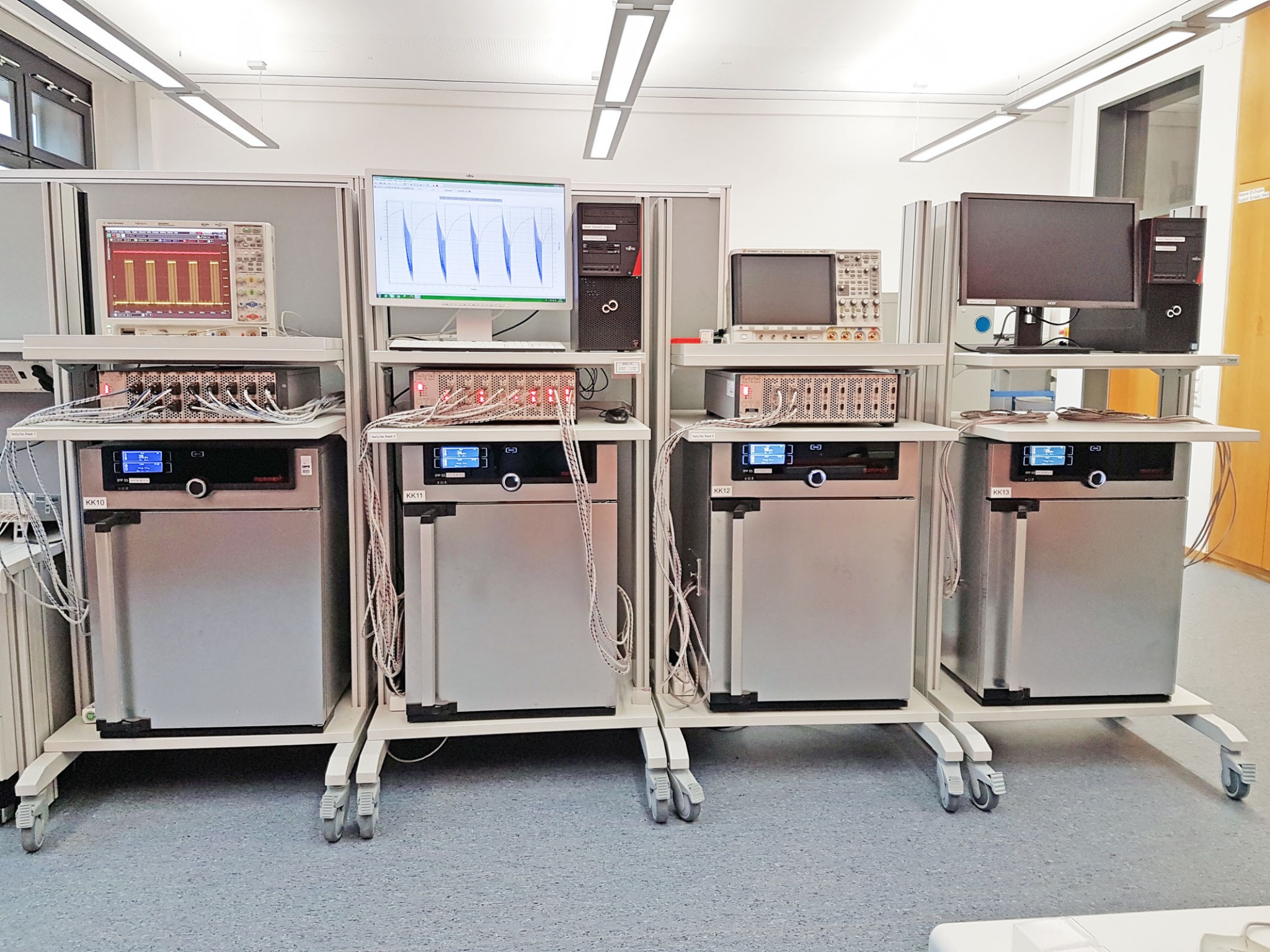 Messgeräte zur Batteriezyklisierung. Foto: FHWS