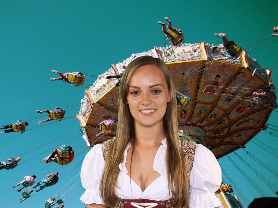 Katharina Klüpfel, die glückliche Gewinnerin des Volksfest-Gesichts 2017. Foto: Stadt Schweinfurt/Fotobox