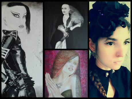 Verschiedene Acryl-Bilder von Rose Black und rechts ein Portrait (Foto) der Künstlerin. Fotos: Delila Berger