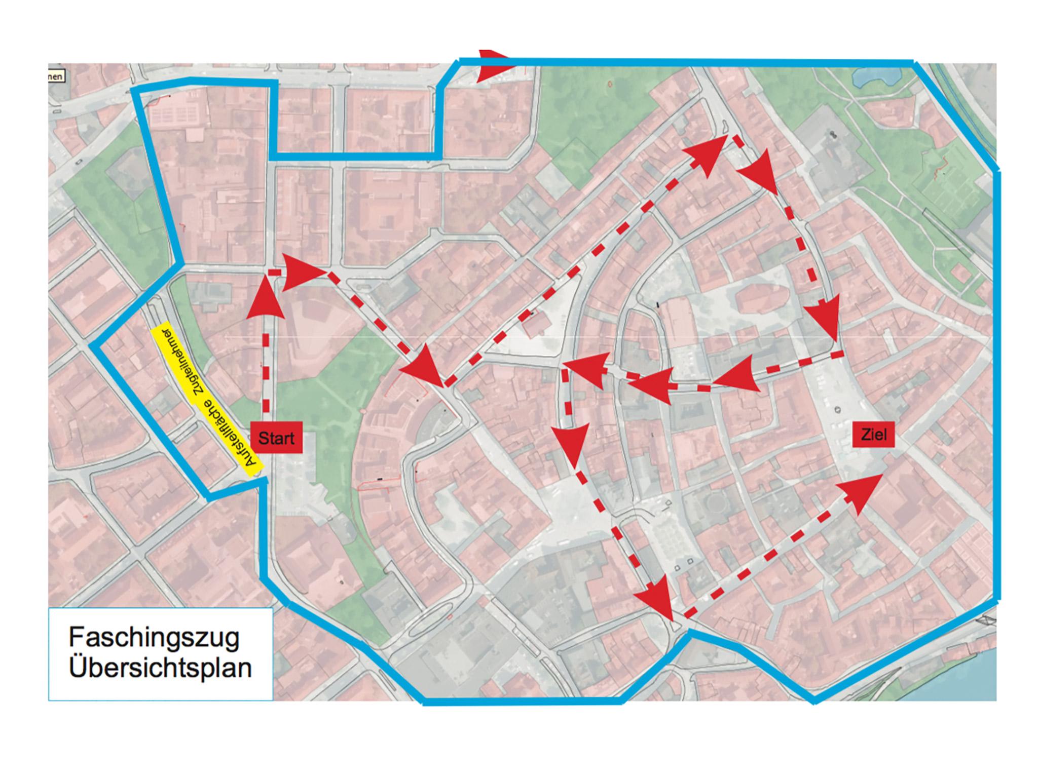 Grenzen des Sperrbereiches und Zugstrecke. Grafik: Stadt Schweinfurt