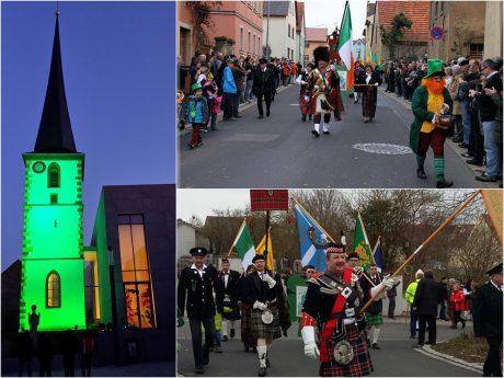 St. Patrick's Festzug und grün beleuchtete Kirche in Waigolshausen. Fotos: Clan McEL
