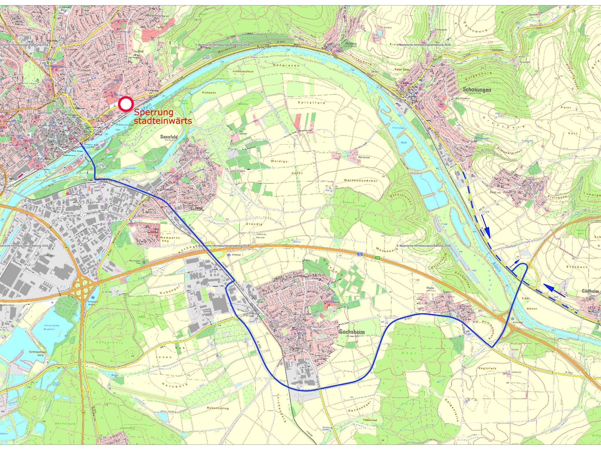Die Umleitung aufgrund Vollsperrung der Mainberger Straße. Foto: Stadt Schweinfurt