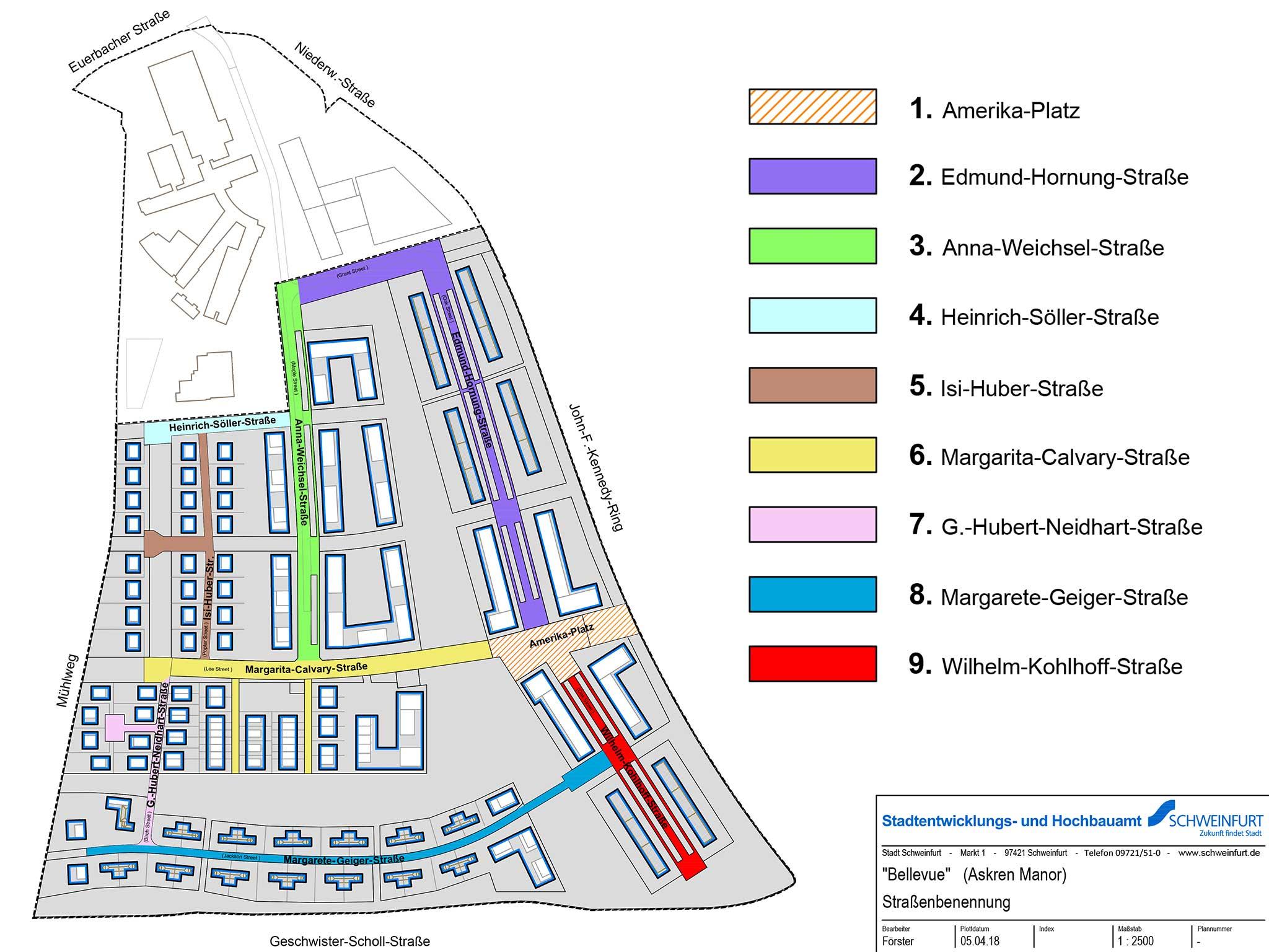 Übersicht über die neuen Straßennamen im Stadtteil Bellevue. Grafik: Stadt Schweinfurt