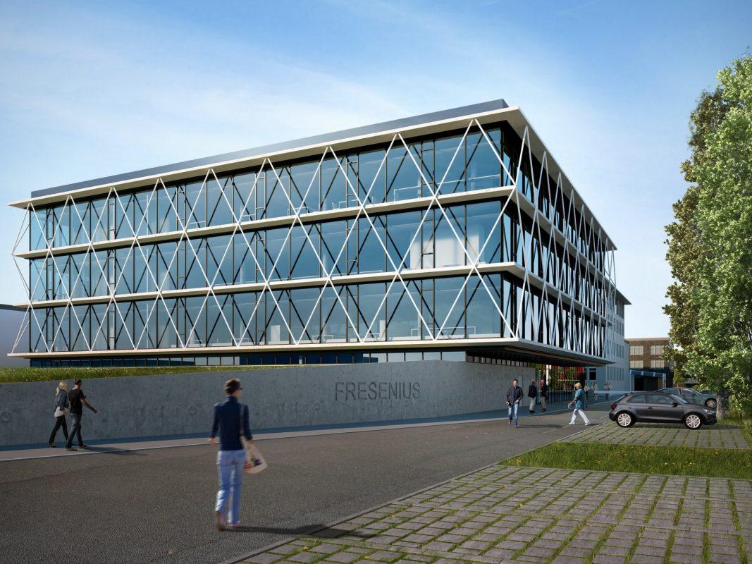 So soll das neue Technologiezentrum von Fresenius aussehen. Visualisierung: Fresenius Medical Care