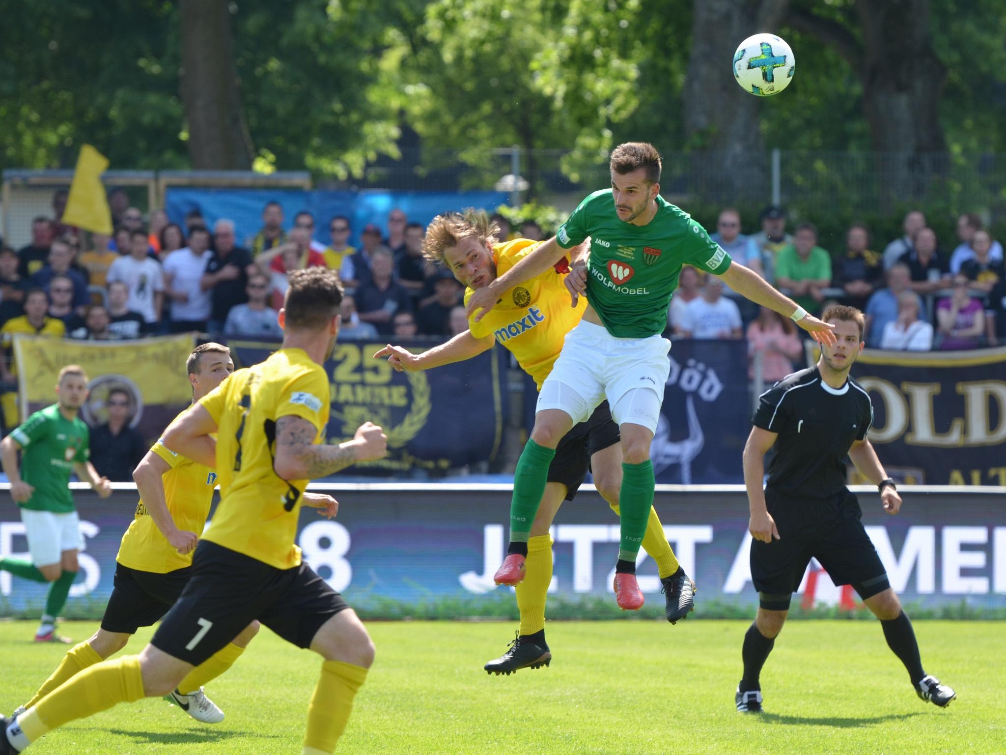 Spielszene im Toto-Pokal Finale 1.FC Schweinfurt 05 gegen Bayreuth. Foto: Bayerischer Fußball–Verband e.V.
