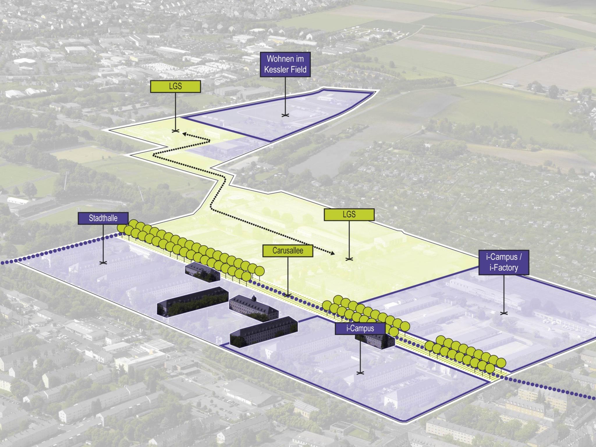 Konzept zur langfristigen Nutzung des Geländes. Grafik: Stadt Schweinfurt