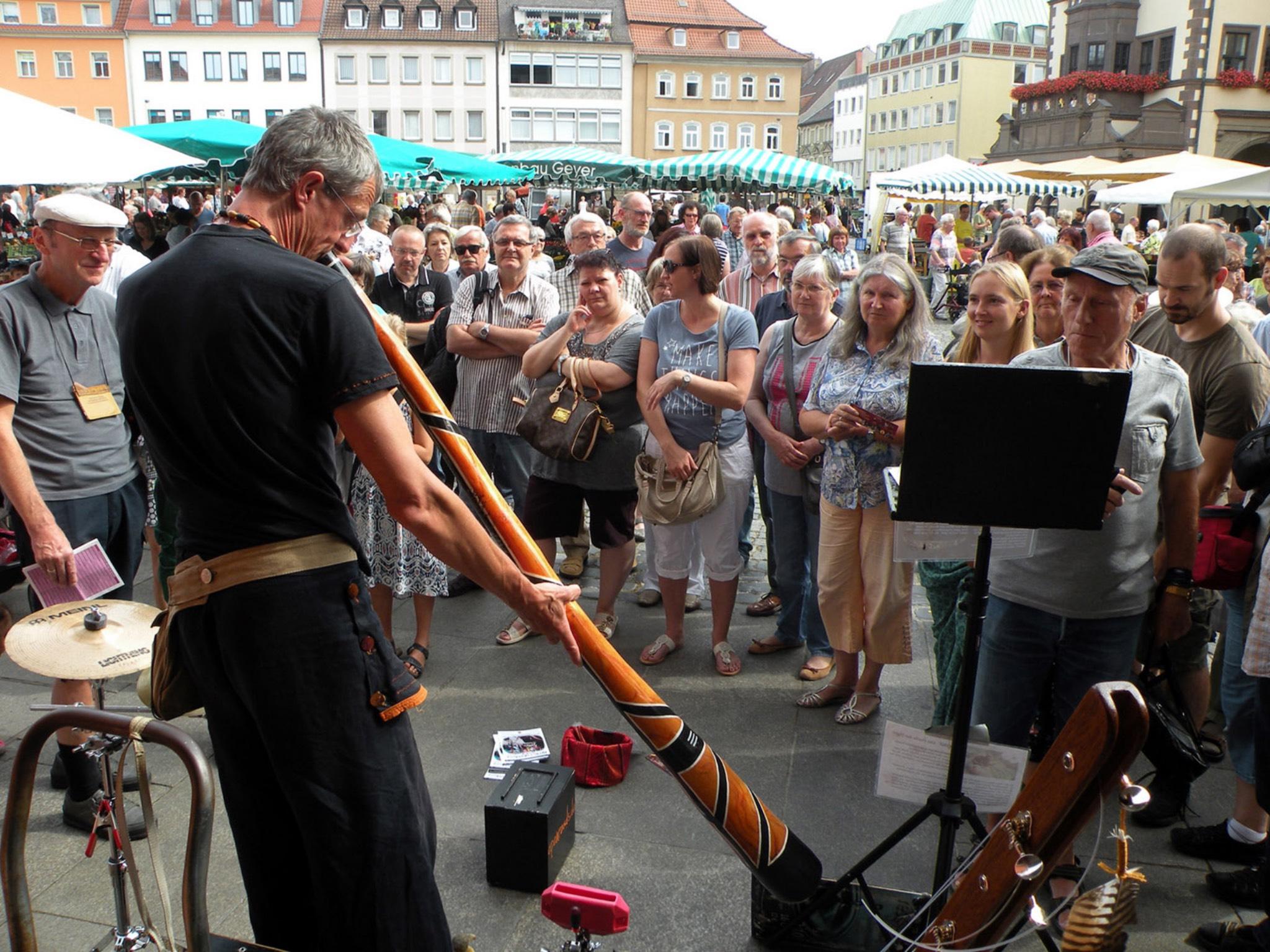 Straßenmusiker beim letztjährigen Schweinfurter Pflasterklang. Foto: KulturPackt Schweinfurt e.V.
