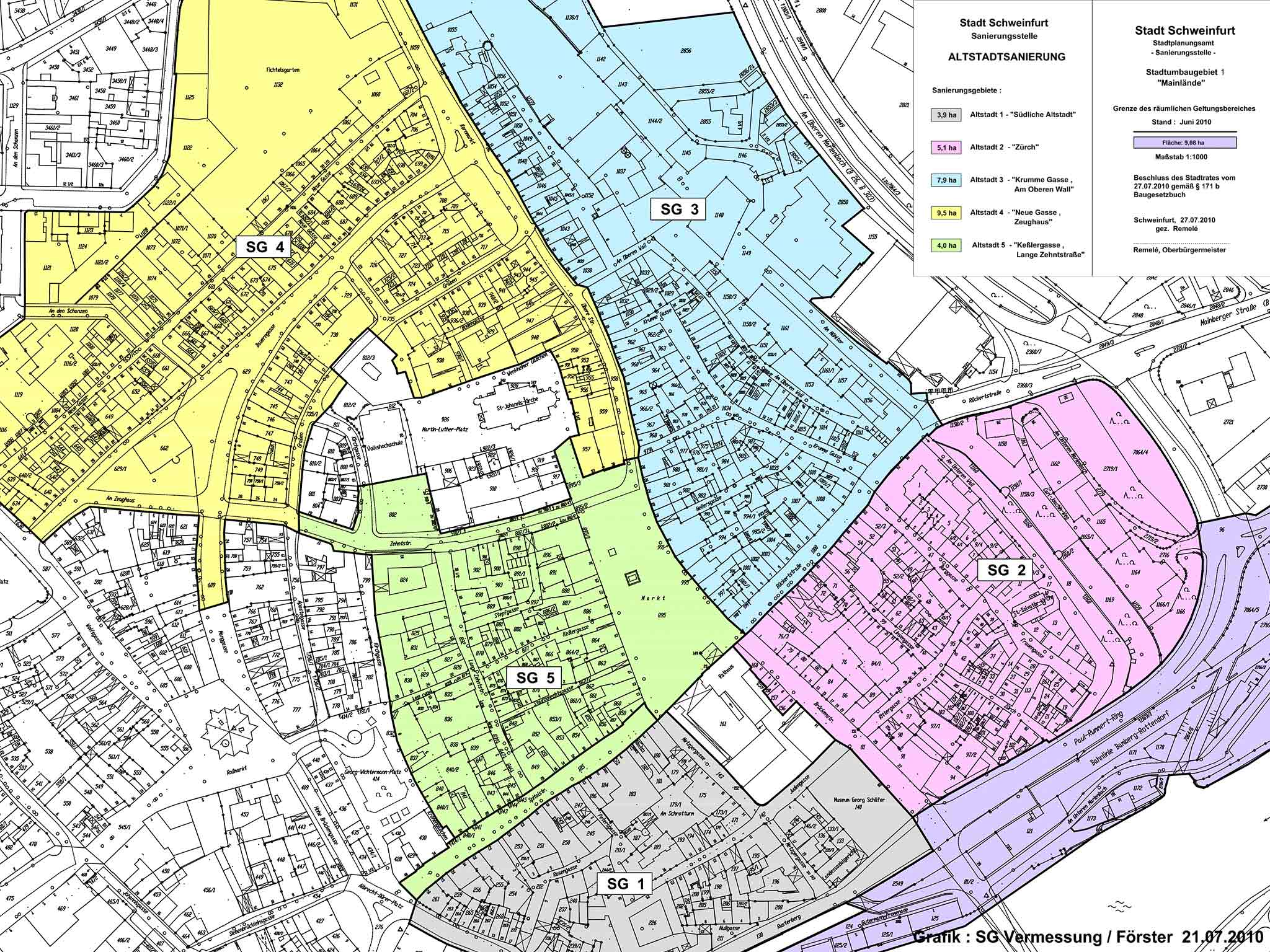 Altstadtsanierungsplan. Grafik: SG Vermessung / Förster, Stadt Schweinfurt
