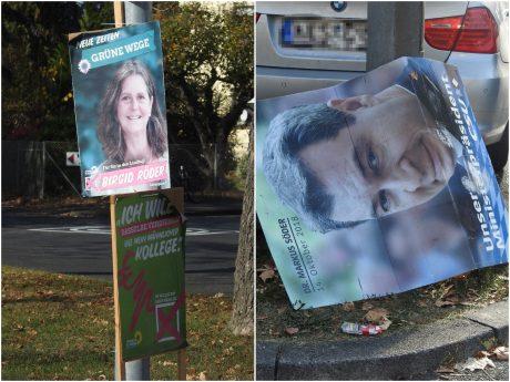 Noch immer sind Wahlplakate in Schweinfurt zu finden. Fotos: Dirk Flieger
