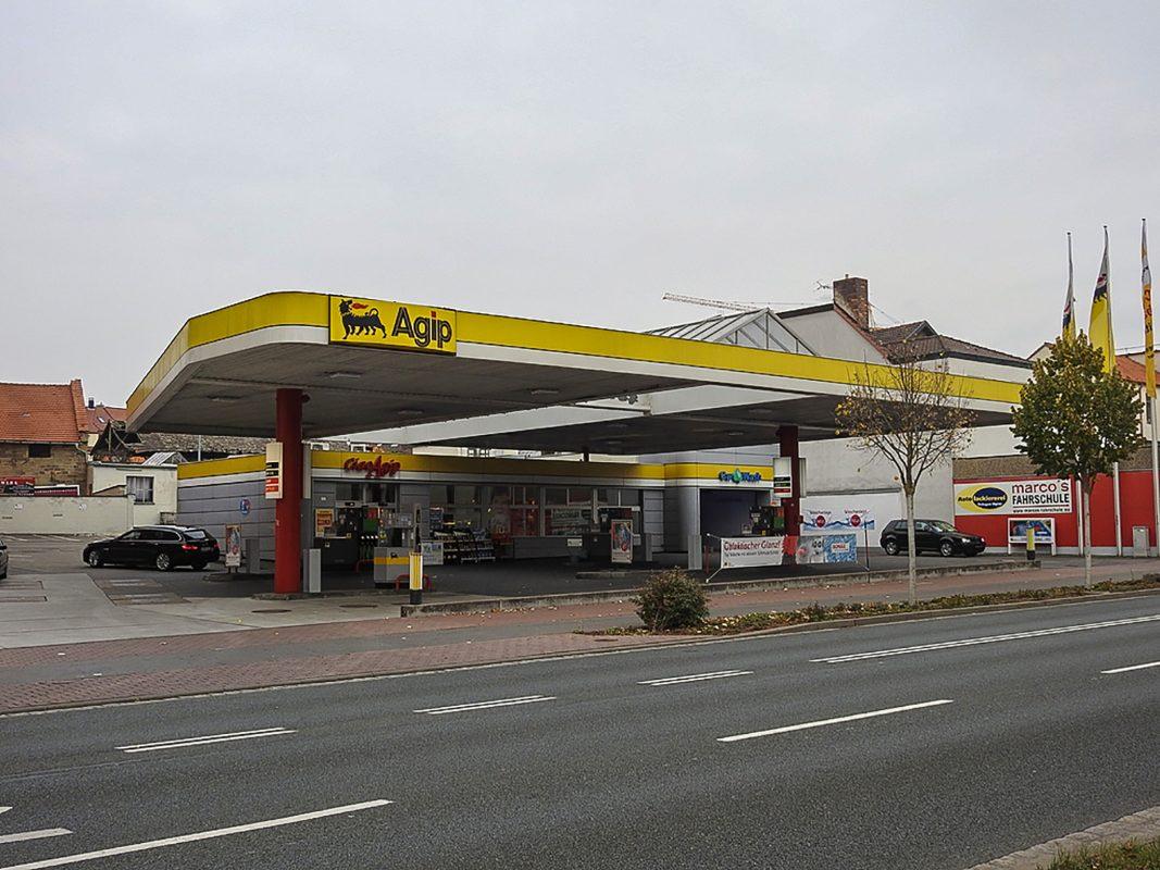 Die Agip-Tankstelle in der Niederwerrner Straße. Foto: Dirk Flieger