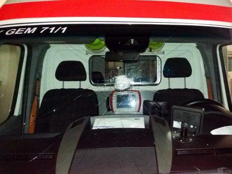 Der beschädigte Rettungswagen. Foto: BRK Main-Spessart
