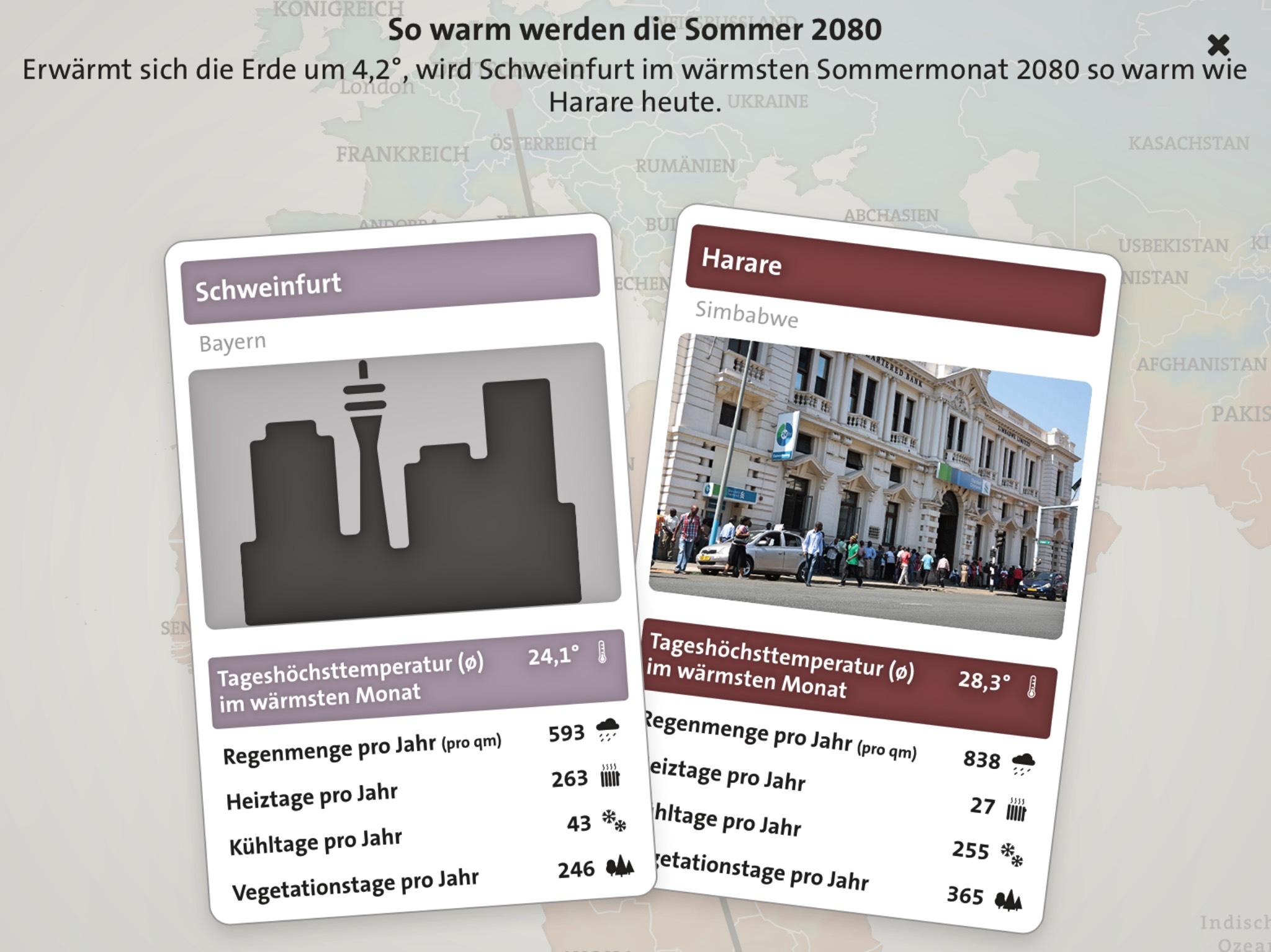 In Schweinfurt wird es bei einem Anstieg von 4,2 Grad, in 60 Jahren so heiß wie in Simbabwe. Foto: Screenshot Tagesschau.de