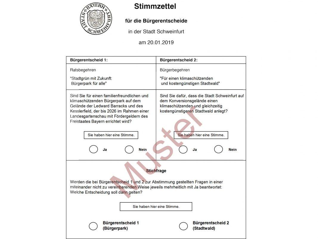 Der Stimmzettel zu den Bürgerentscheiden am 20. Januar 2019. Muster: Stadt Schweinfurt