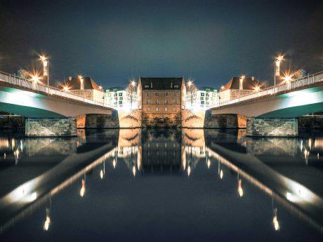 Maxbrücke und die neue Moritzbrücke. Fotomontage: Dominik Ziegler
