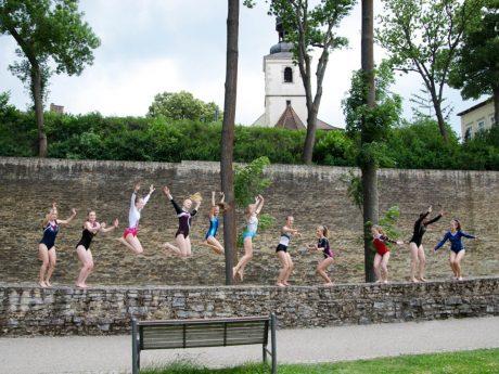 Die Turnerinnen der TG Schweinfurt an der Stadtmauer. Foto: BTV.