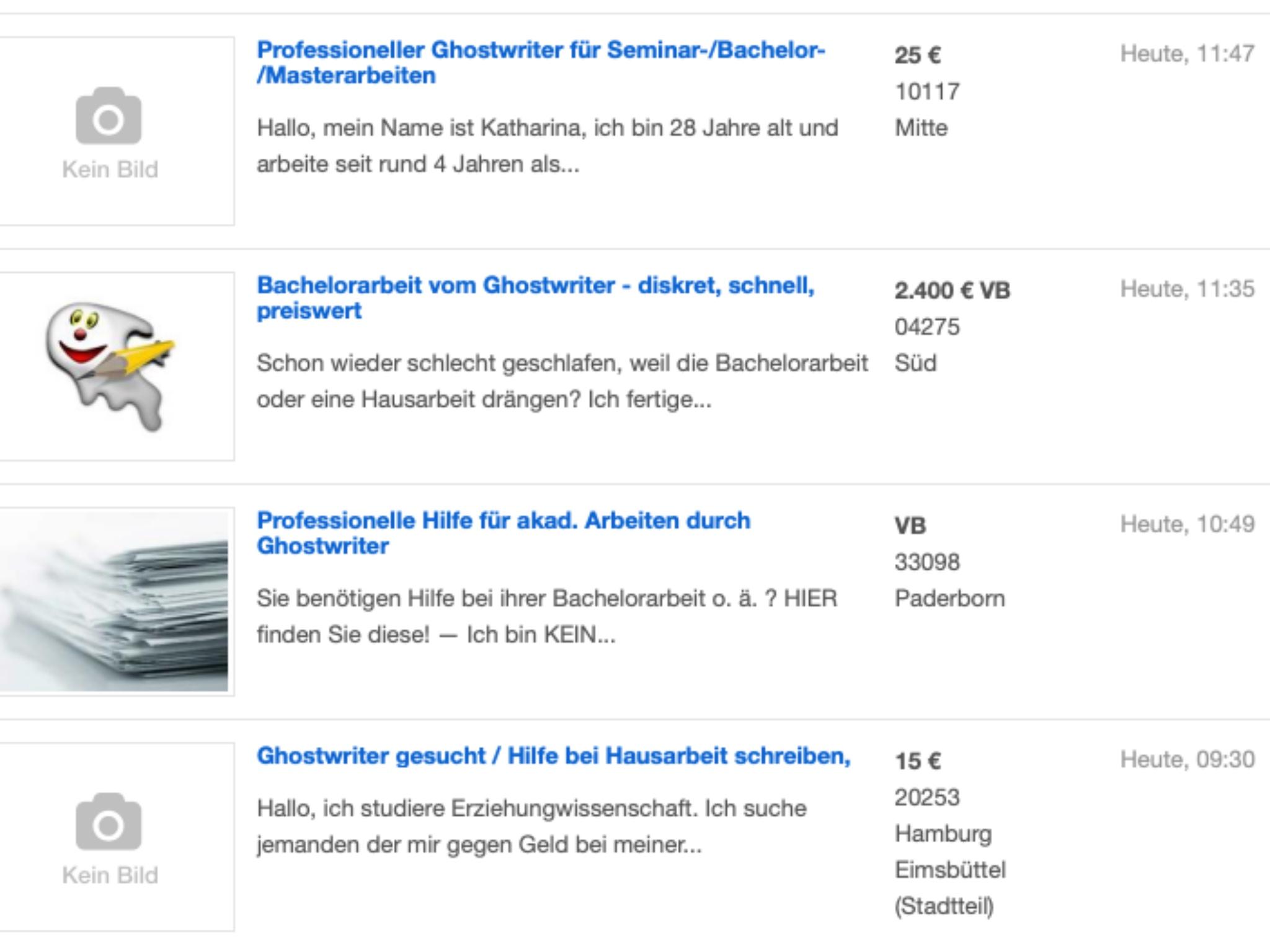 Auf Ebay Kleinanzeigen gibt es jeden Tag neue Anzeigen im Hinblick auf Angebote für und von Ghostwritern. Foto: Annika Betz.