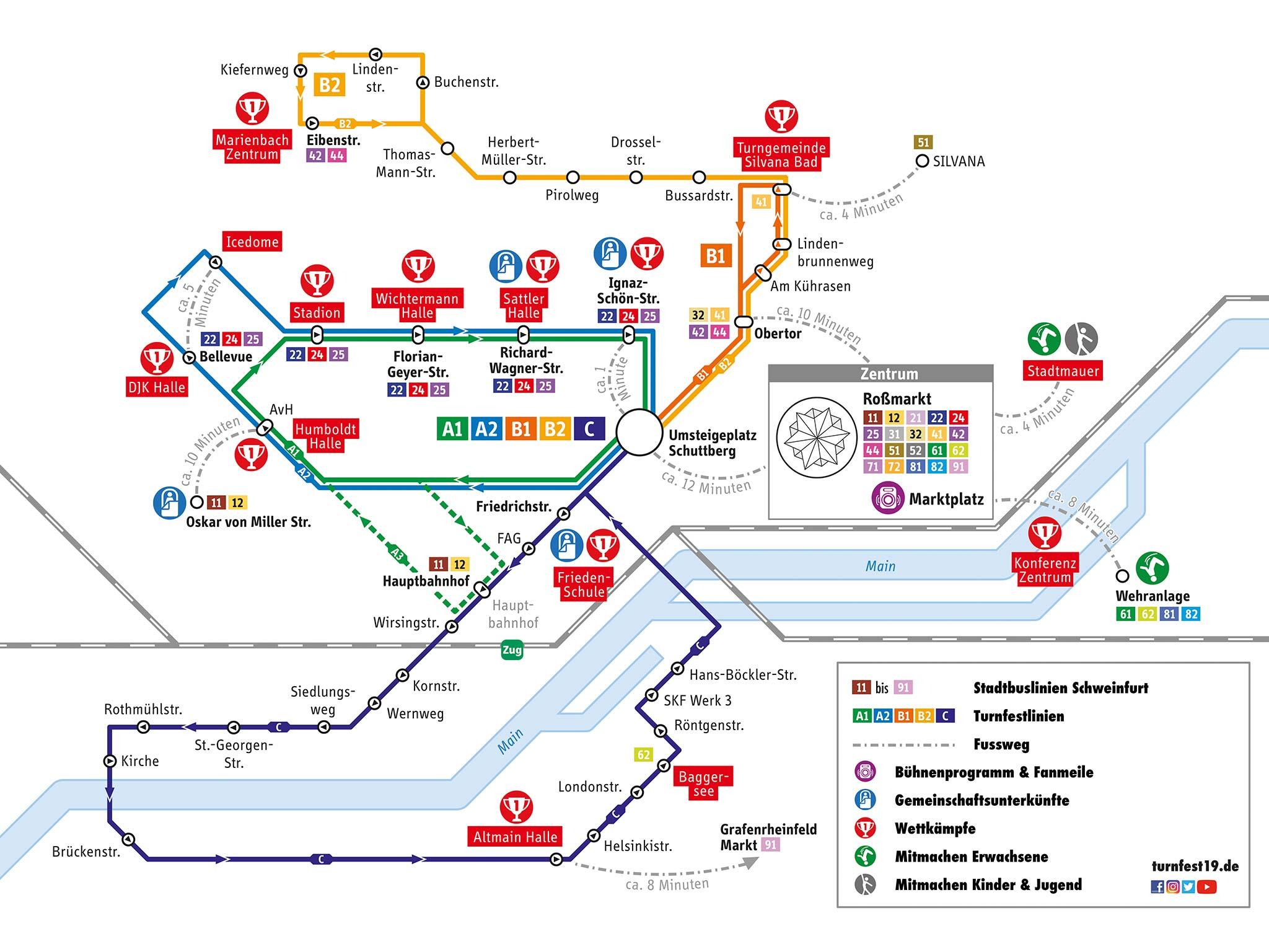 Netzplan der Turnfestlinien. Grafik: Stadtwerke Schweinfurt
