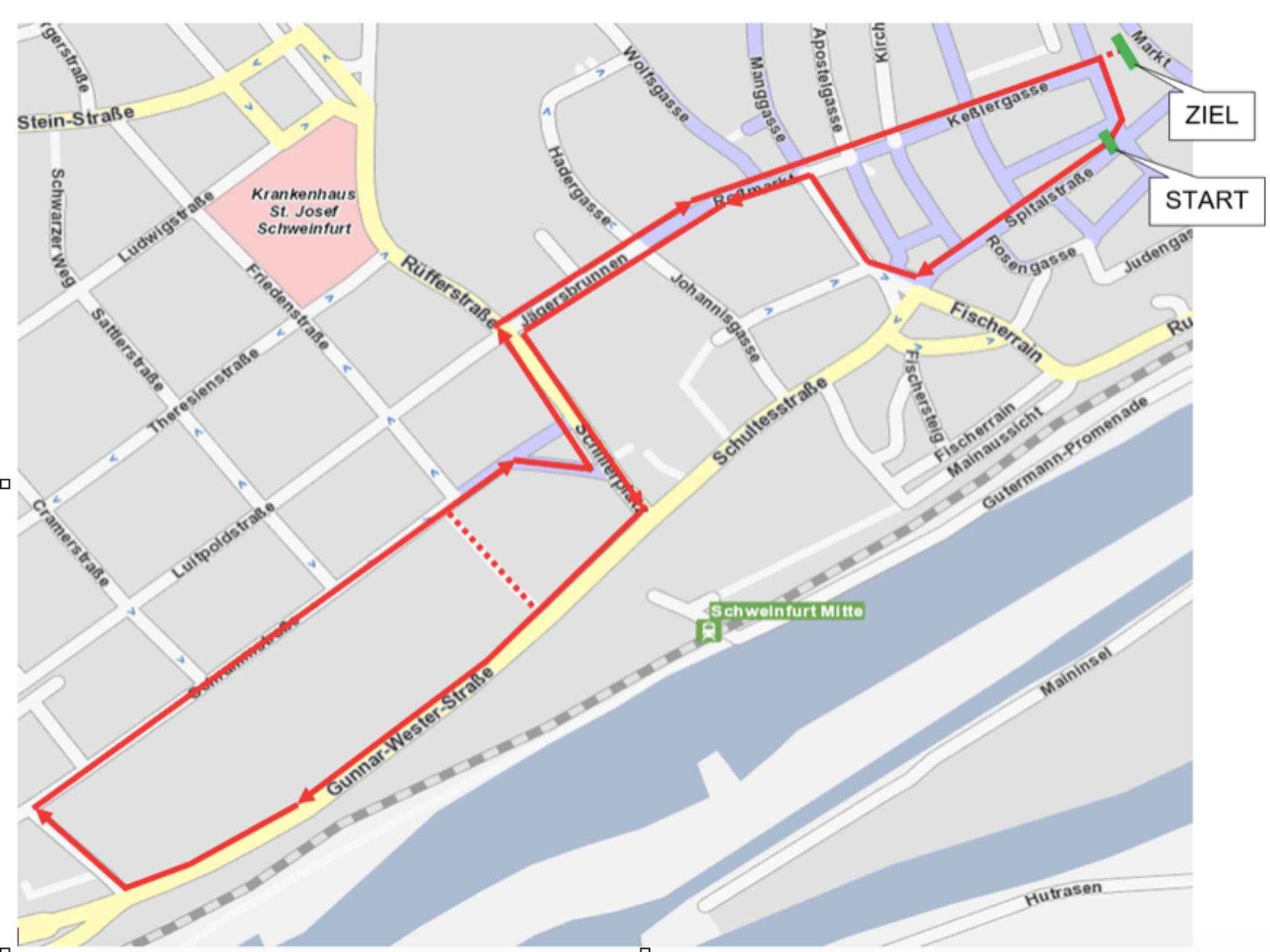 Streckenverlauf des AOK-MainCityRun in Schweinfurt. Grafik: AOK-MainCityRun