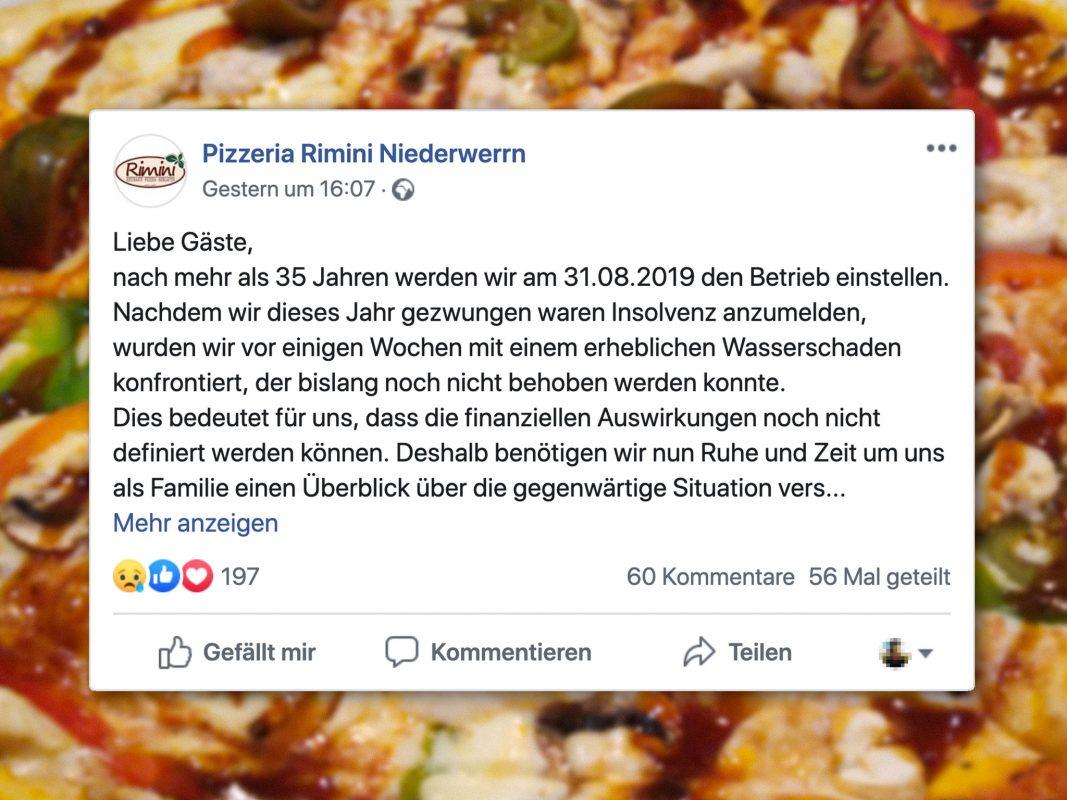 Die Pizzeria Rimini wird schließen. Screenshot: Facebook/Pizzeria Rimini Niederwerrn