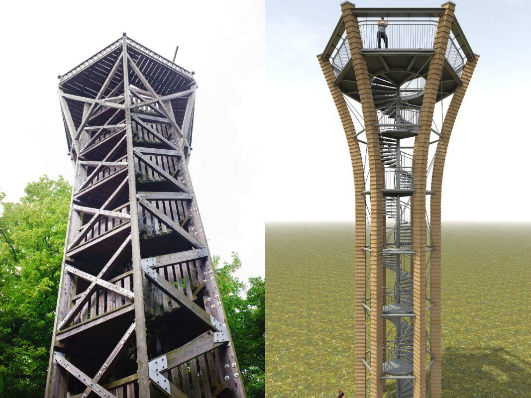 Der jetzige Turm am Zabelstein ist marode und wird in den kommenden Wochen abgerissen. Foto: Tourist-Information 360°, Andreas Hub Die Visualisierung zeigt, wie der neue Turm aussehen wird. Foto: Architekt Johannes-Ulrich Blecke