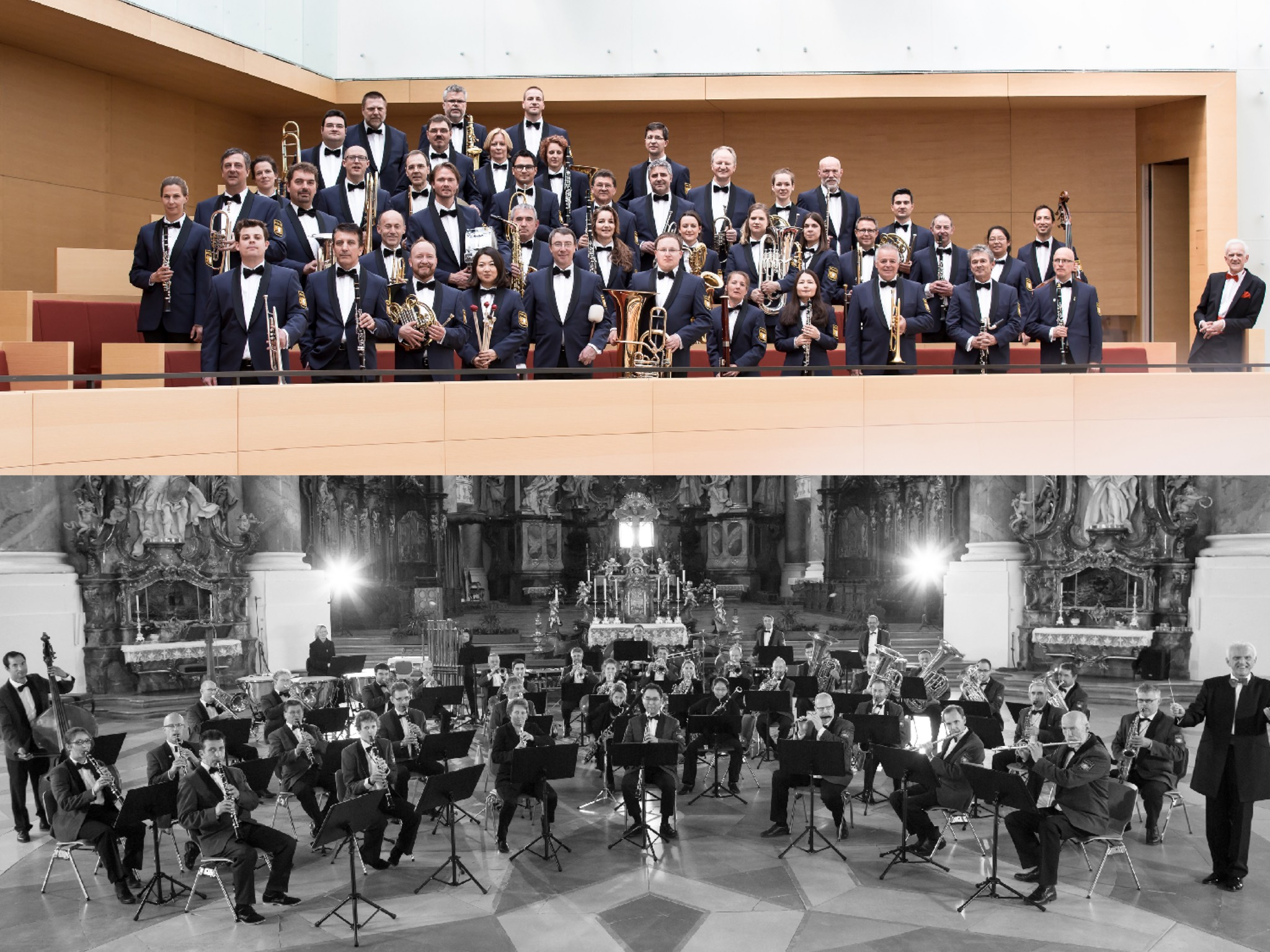 Das Blasorchester der Bayerischen Polizei besteht aus 45 studierten Berufsmusikerinnen und -musikern. Fotos: Tobias Epp, Bayerische Bereitschaftspolizei (oben), Benjamin Müller, Marvin Pfeifer (unten)