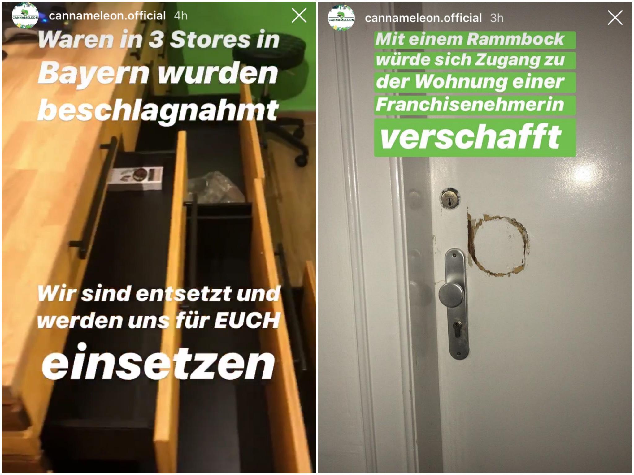 Cannameleon dokumentierte in einer Instagram-Story den Zustand nach der Ducrhsuchung. Foto: Screenshot Instagram