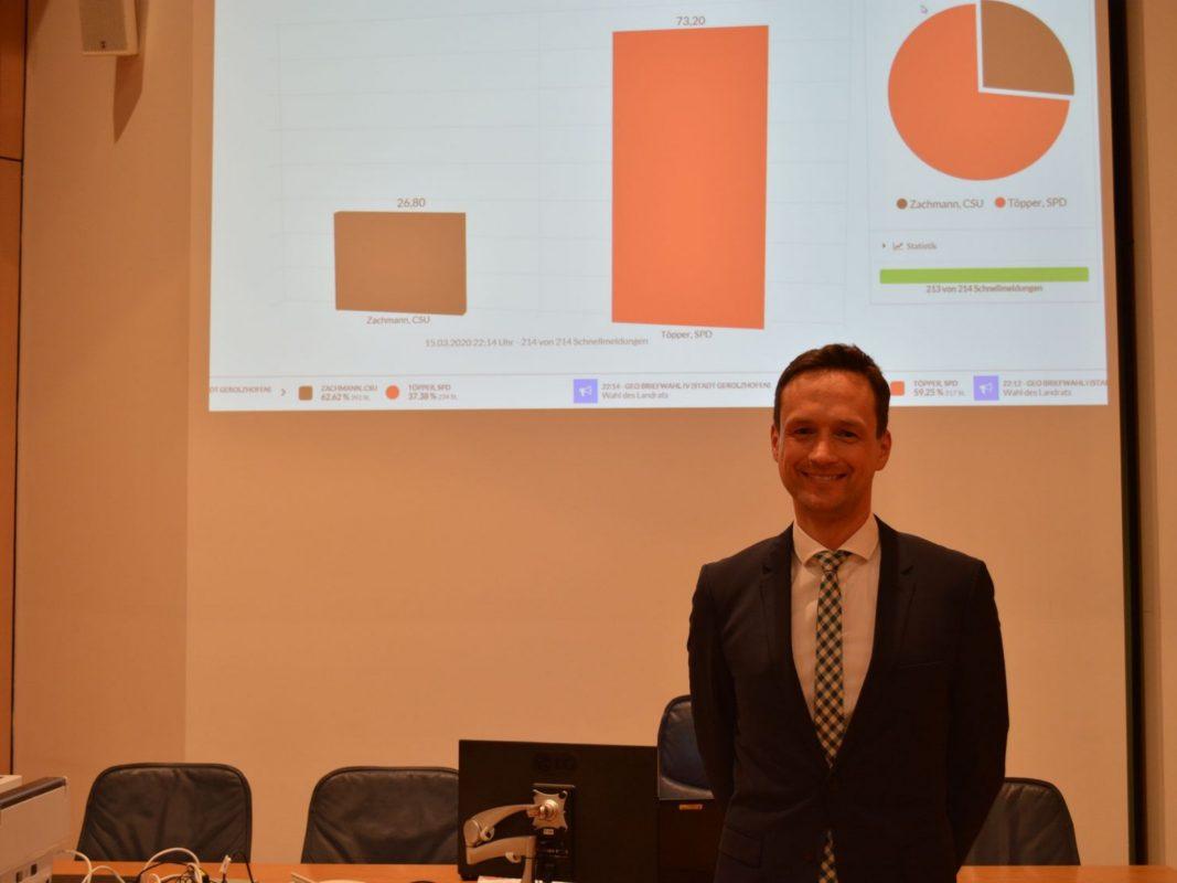Der amtierende Landrat Florian Töpper (SPD) wurde mit 73,2 Prozent am 15. März 2020 wiedergewählt. Foto: Uta Baumann, Landratsamt Schweinfurt