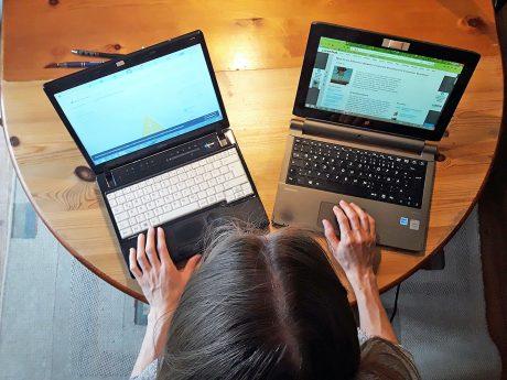 Um die Fachliteratur bearbeiten zu können, kann die Arbeit über zwei Bildschirme Abhilfe schaffen. Foto: FHWS/ Klein