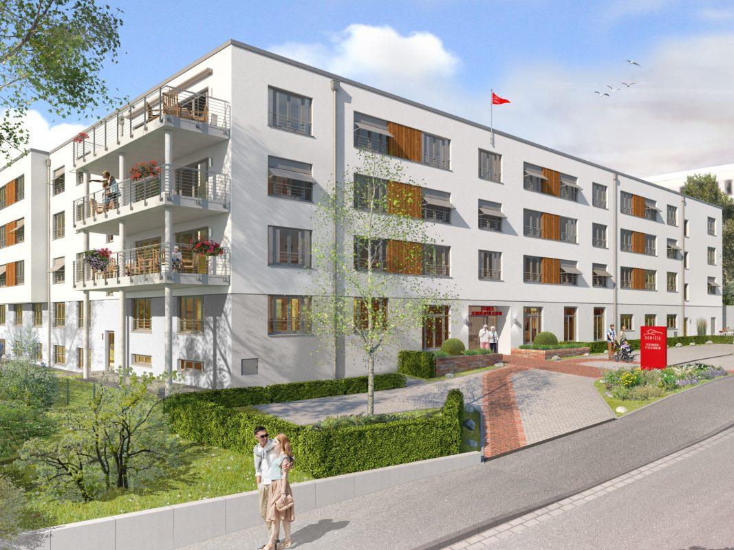 Visualisierung des neuen Domicil-Seniorenheims in Schweinfurt. Grafik: Animation HBB