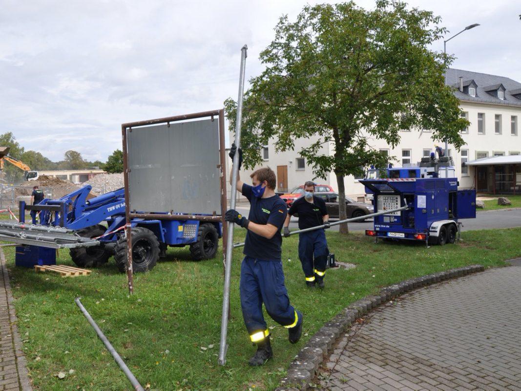 Der Umbau für das Corona-Testzentrum läuft in Rekordzeit. Kristina Dietz, Stadt Schweinfurt