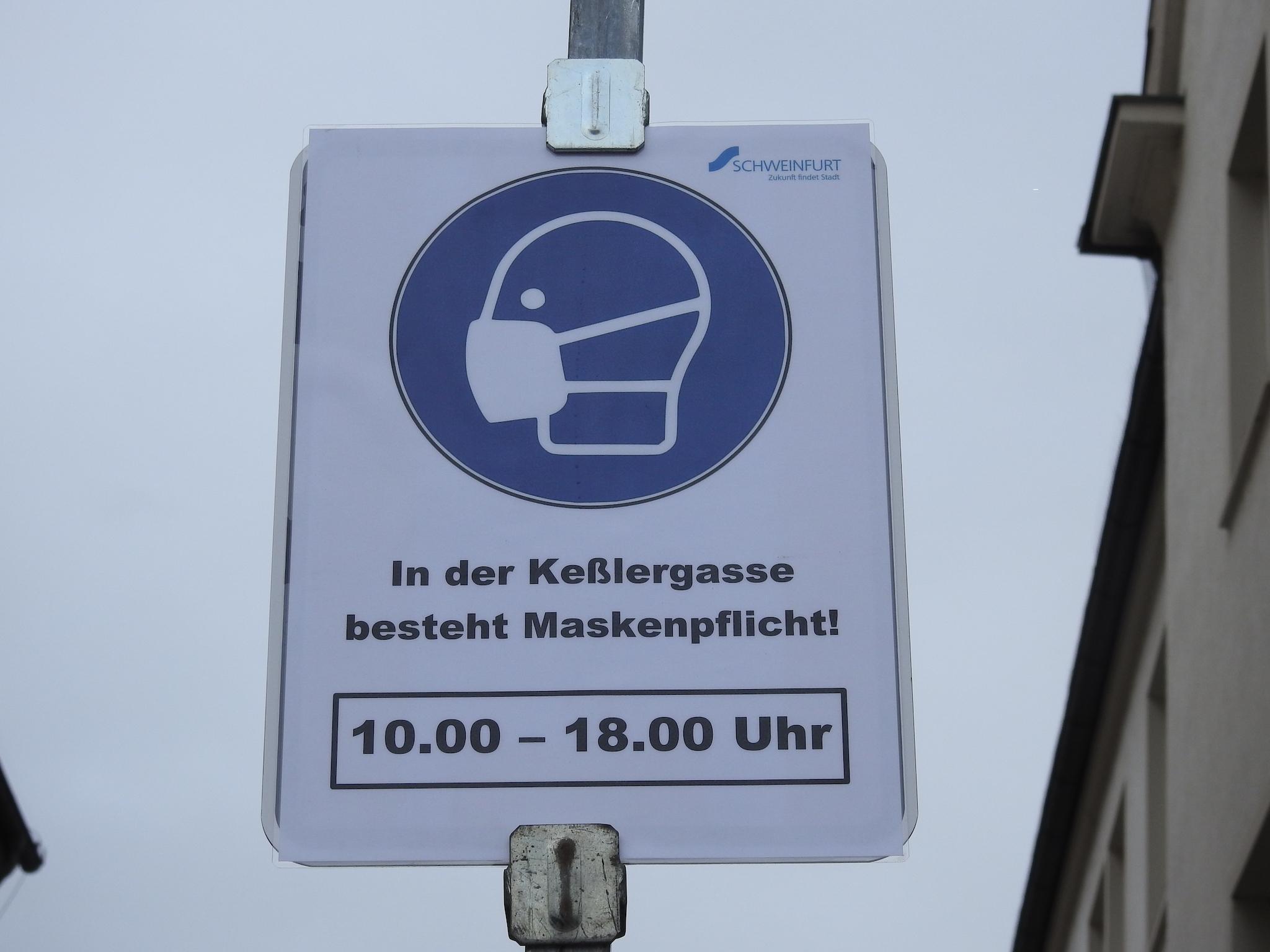 Maskenpflicht in der Keßlergasse. Foto: Dirk Flieger
