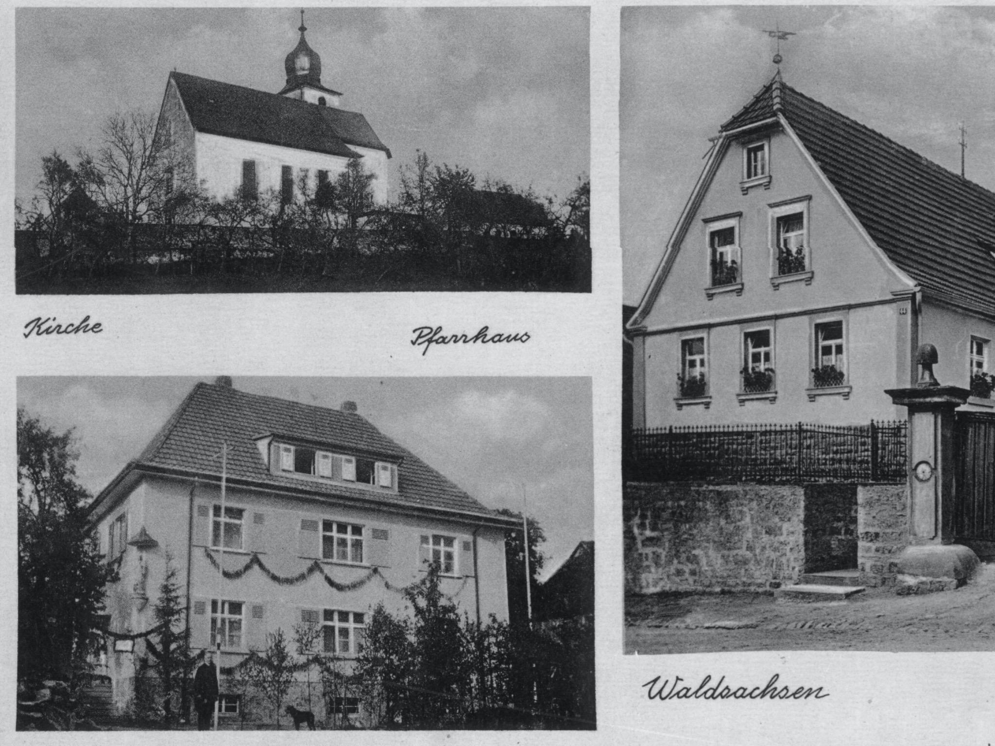 Postkarte von 1934 nach der Renovierung der Kirche. Foto: zur Verfügung gestellt von Fam. Schleyer, Bayerhöfer Str.
