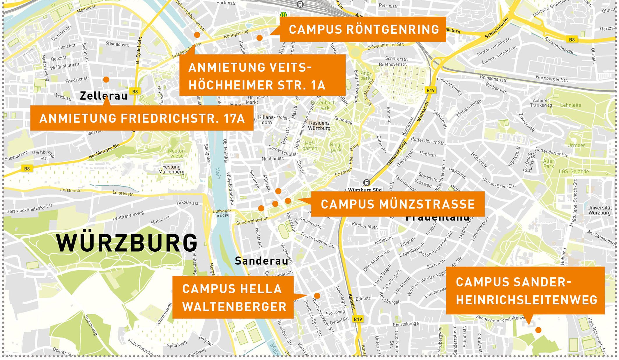 Die Übersicht über den Campus am Hochschulstandort in Würzburg. Grafik: Simplymaps