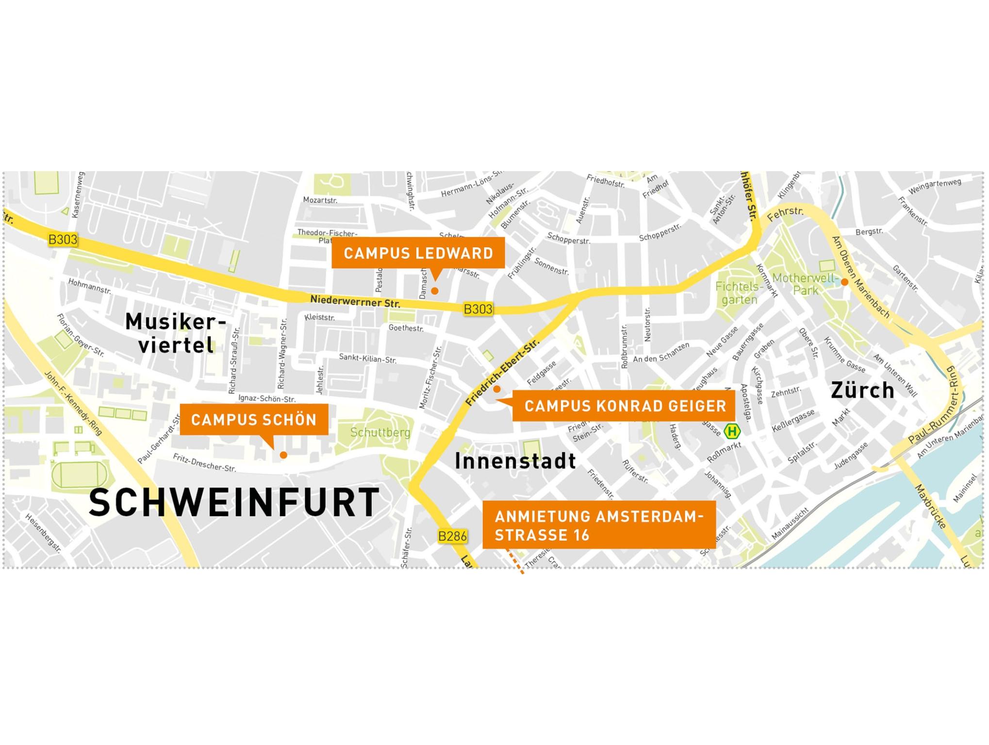 Die Übersicht über den Campus am Hochschulstandort in Schweinfurt. Grafik: Simplymaps