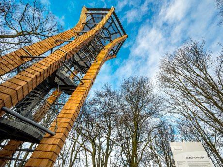 Der neue Aussichtsturm in Zabelstein wurde nun fertig gestellt. Foto: Landratsamt Schweinfurt/Anand Anders
