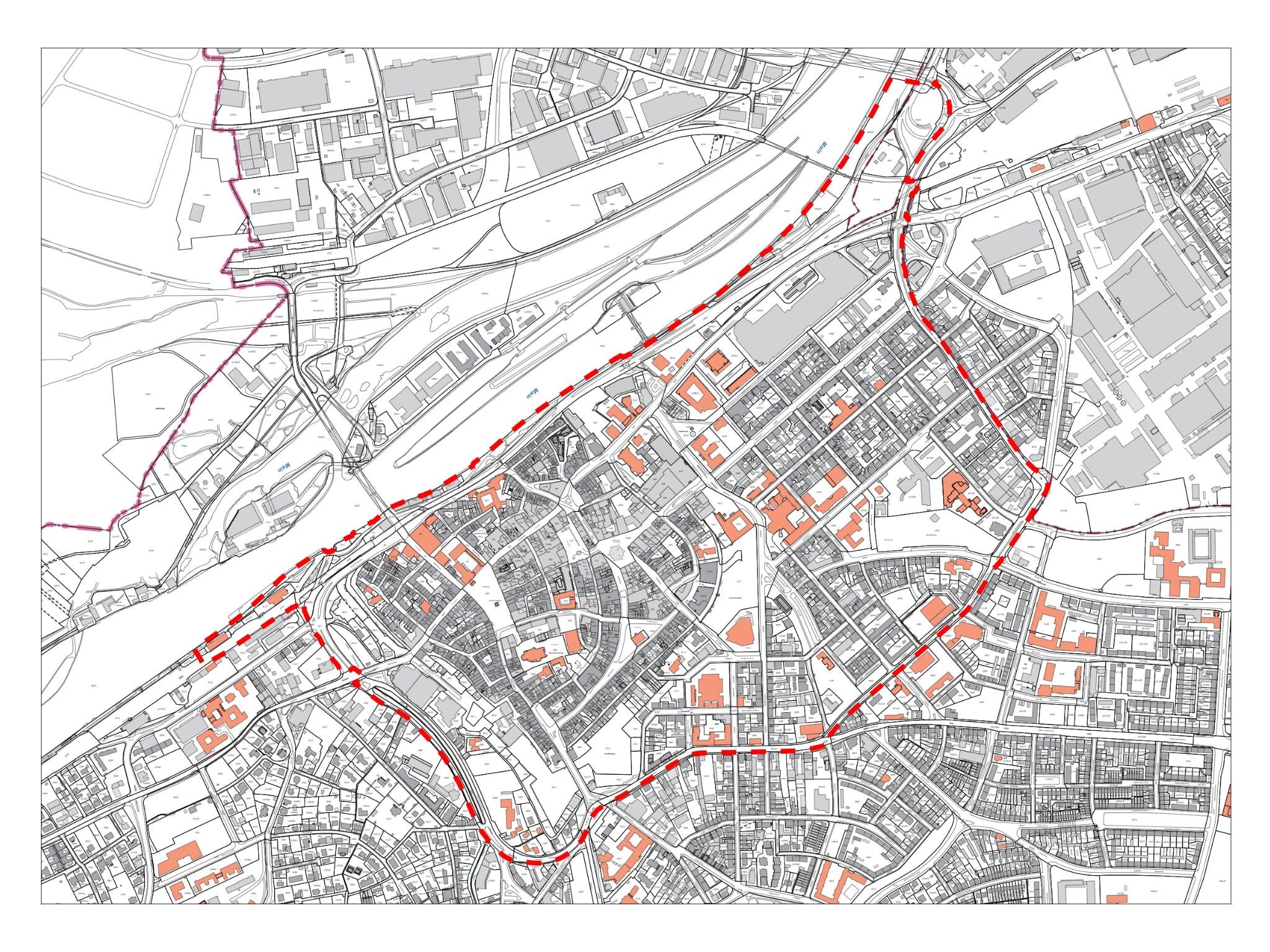 Der Lageplan stellt den Bereich dar, in dem ab 23. Januar ein ganztägiges Alkoholverbot gilt. Grafik: Stadt Schweinfurt