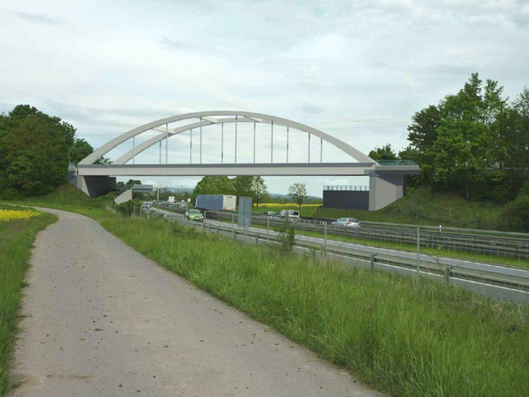 Blick in die Zukunft der neuen Eisenbahnbrücke über die A70. Foto: Deutsche Bahn