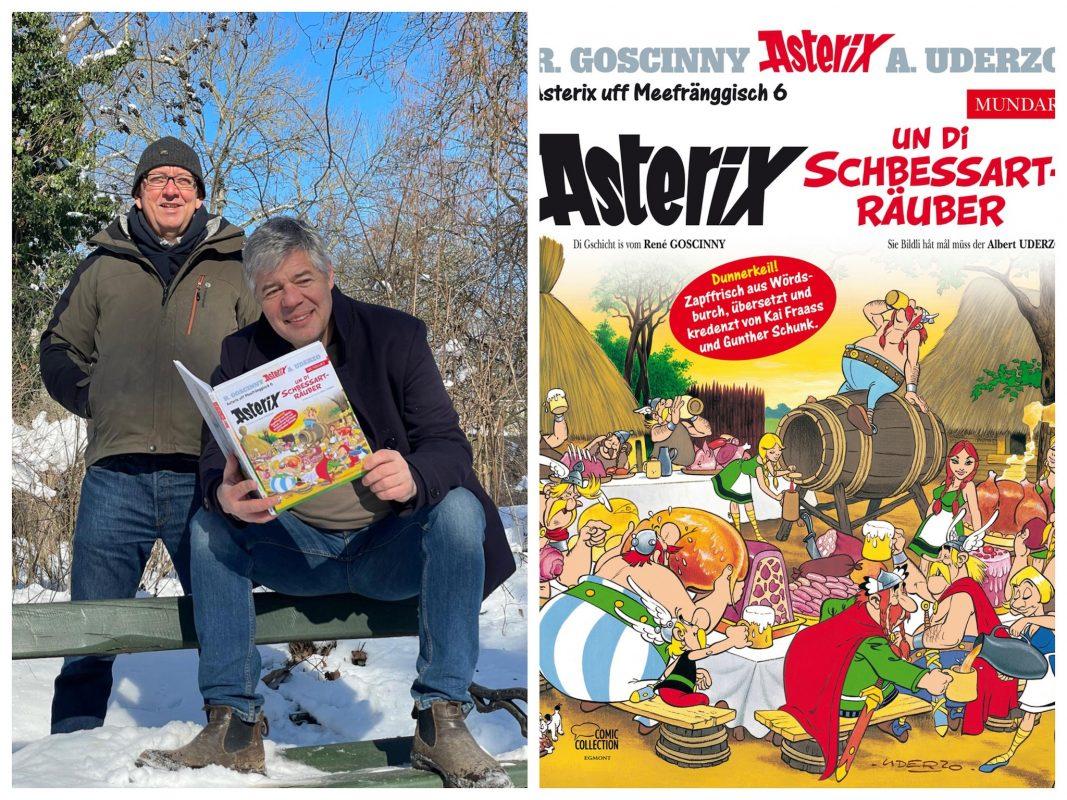 (v.l.) Kai Fraass und Gunther Schunk mit ihrem neuen Asterix uff Meefränggisch. Foto: A. Weissenberger