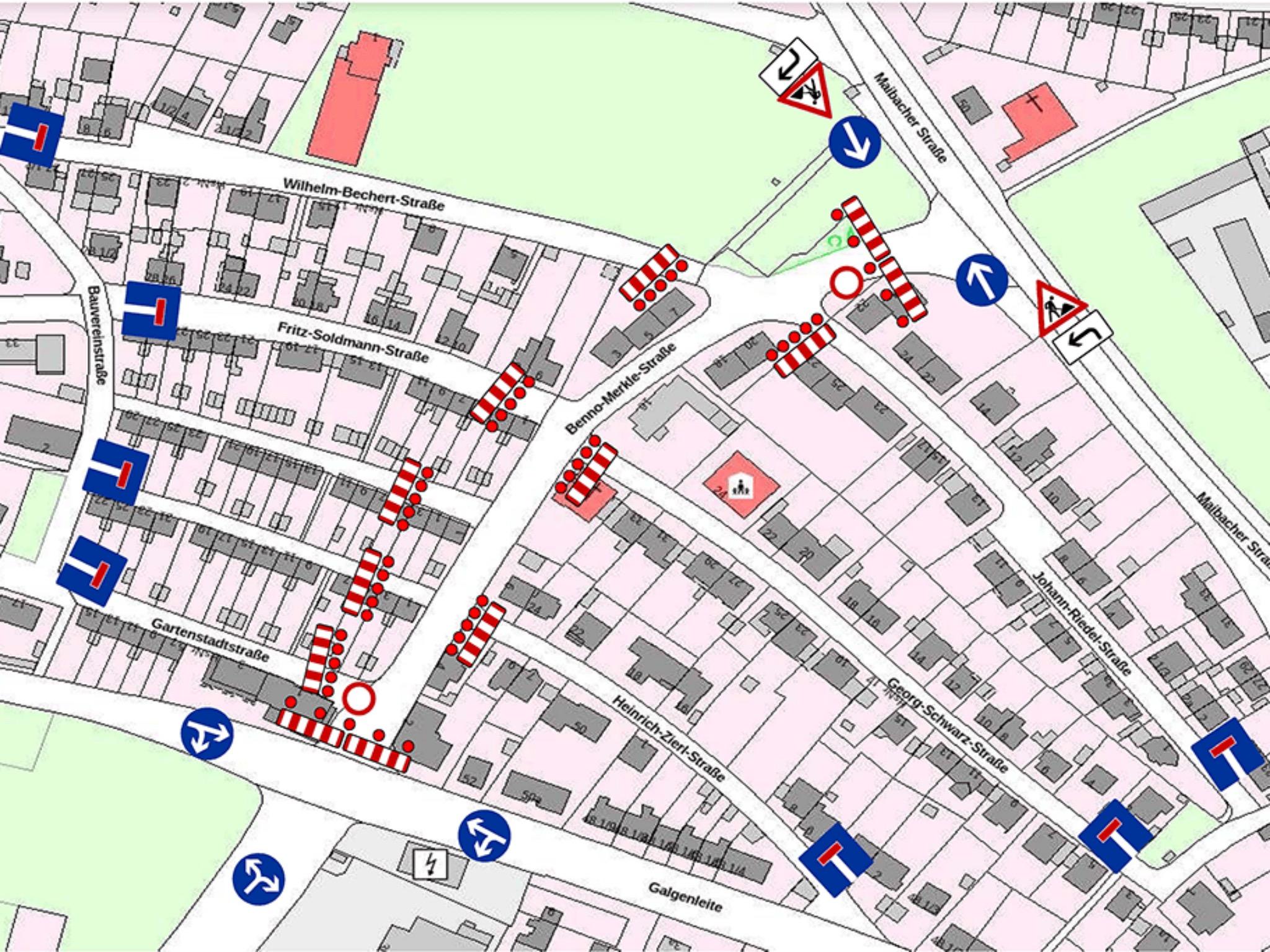 Vollsperrung Benno-Merkle-Straße - mögliche Umgehungen. Grafik: Stadtwerke Schweinfurt
