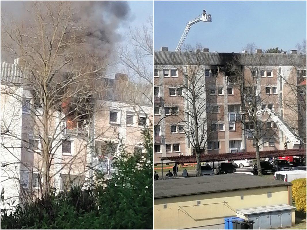 Eine Wohnung in der Breslaustraße stand komplett in Flammen. Fotos: Kirsten