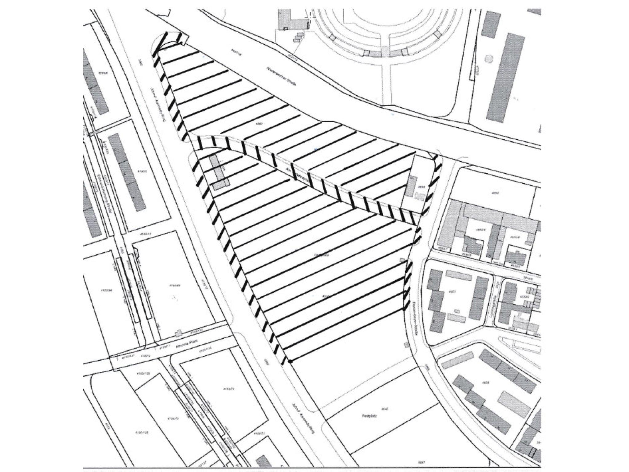 Der schraffierte Bereich stellt den Geltungsbereich der Maskenpflicht dar. Grafik: Stadt Schweinfurt