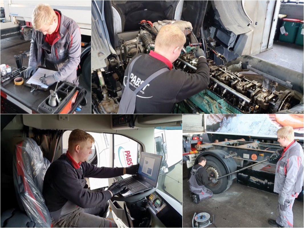 Die Ausbildung zum KFZ-Mechatroniker (m/w/d) Nutzfahrzeugtechnik bei Pabst Transport. Foto: Pabst Transport
