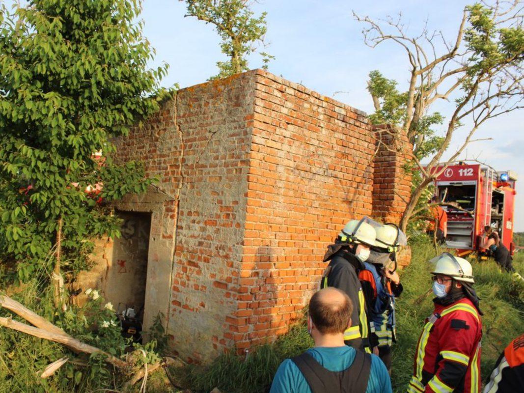 Brand in einem ehemaligen Bunker in Werneck. Foto: Feuerwehr Werneck