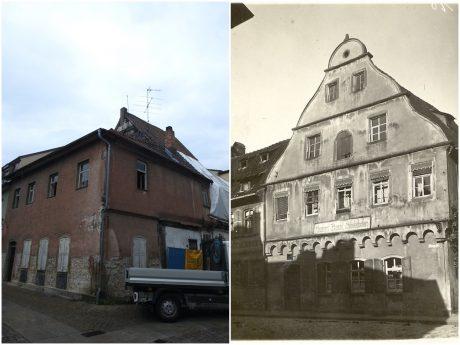 Die Burggasse 17 heut und früher. Fotos: Dirk Flieger / Stadt Schweinfurt