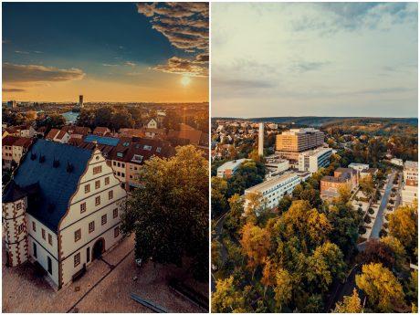 Das Zeughaus und eine typische Schweinfurt-Ansicht von oben. Fotos. Hendrik Holnäck