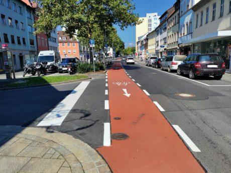 Neuordnung der Kreuzung Kornmarkt / Bauerngasse und Rotbelag in der Oberen Straße und Zehntstraße. Foto: Moritz Kreisel, Stadt Schweinfurt