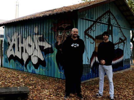 Die Sprayer AiTER ONE und Fabian Schäfer. Foto: Franka Weth, FH-Praktikantin FränZ